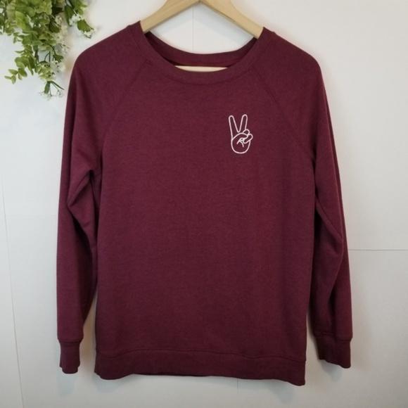 8ae536c18d5 Old Navy Burgundy Embroidered Crewneck Sweater. M_5b6dc0a8035cf1428da44fa6